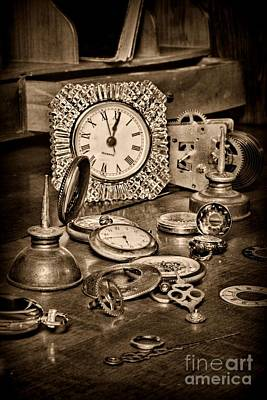 Watch Repair In Black And White Poster by Paul Ward