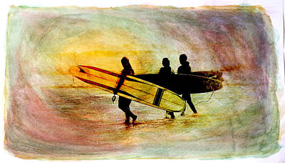 Water Color Surfers Poster by Steve McKinzie