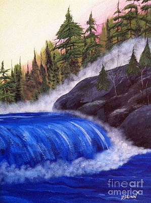 Water Fall By Rocks Poster by Brenda Brown