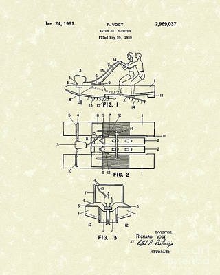 Water Scooter 1961 Patent Art Poster by Prior Art Design