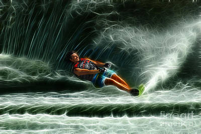 Water Skiing Magical Waters 1 Poster by Bob Christopher
