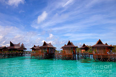 Water Village On Mabul Island Sipadan Borneo Malaysia Poster by Fototrav Print