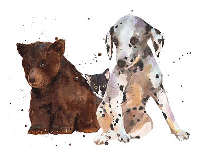 Watercolor Animal Painting Poster by Alison Fennell