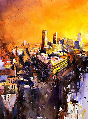Watercolor Painting Of Raleigh North Carolina Skyline Poster by Ryan Fox