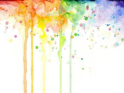Watercolor Rainbow Poster by Olga Shvartsur