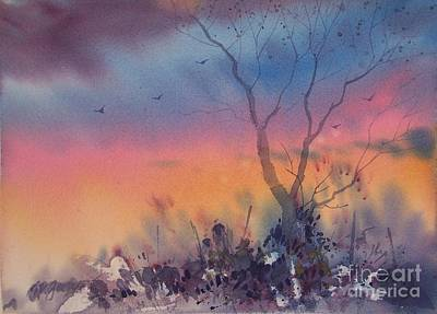 Watercolor Sunset Poster by Micheal Jones