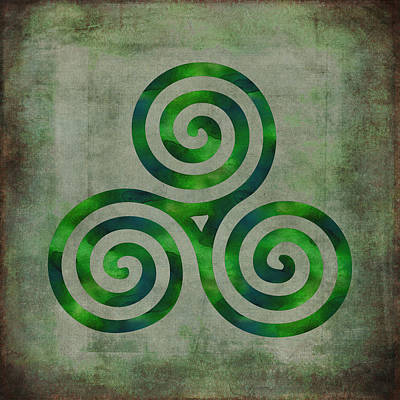 Watercolor Triple Spiral Celtic Art Poster by Kandy Hurley