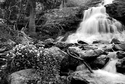 Waterfall Black And White Poster by Aaron Spong