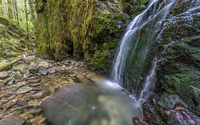 Waterfall In The Wilderness Of Powell River B.c Poster by Pierre Leclerc Photography