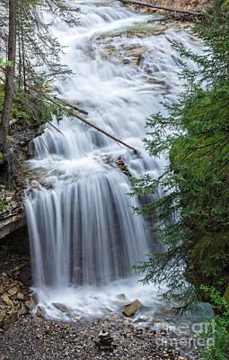 Waterfall Johnston Canyon Banff National Park Poster by Edward Fielding
