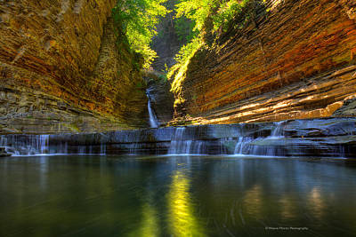 Waterfalls At Watkins Glen State Park Poster by Wayne Moran