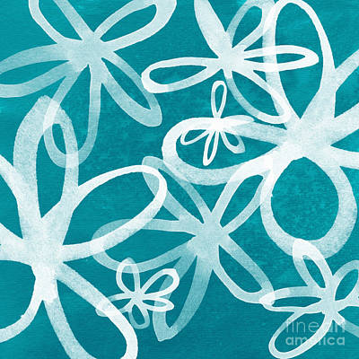 Waterflowers- Teal And White Poster by Linda Woods