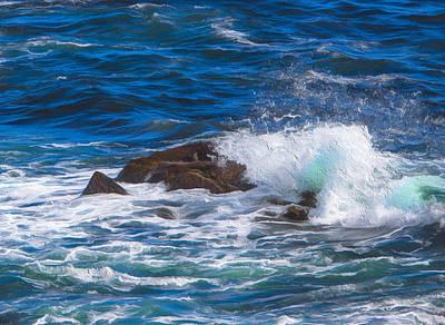 Waves Crashing On Rocks Poster by Patsy Zedar