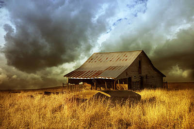 Weathered Barn  Stormy Sky Poster by Ann Powell