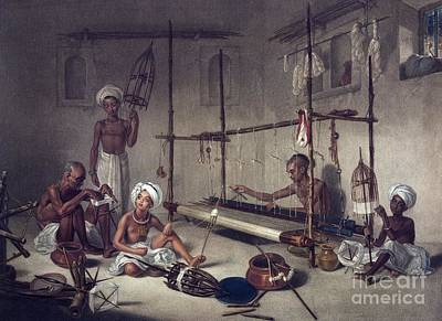 Weavers Using A Loom, Artwork Poster by British Library
