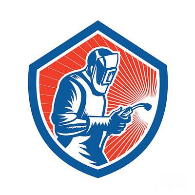 Welder Fabricator Welding Torch Side Shield Retro  Poster by Aloysius Patrimonio