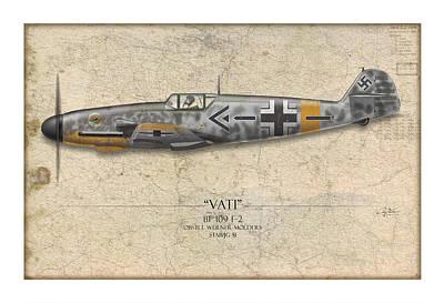 Werner Molders Messerschmitt Bf-109 - Map Background Poster by Craig Tinder