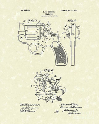 Wesson Revolver 1901 Patent Art Poster by Prior Art Design