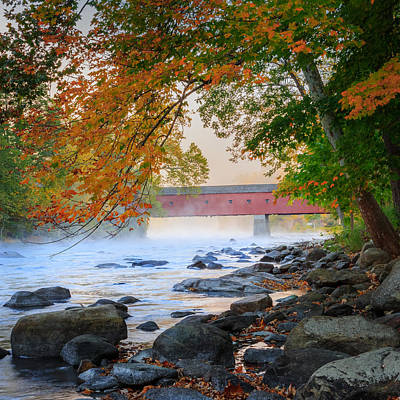 West Cornwall Covered Bridge Autumn Square Poster by Bill Wakeley