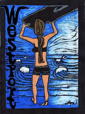 Westport Surfer Chick Poster by Lyn Hayes