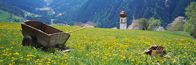 Wheelbarrow In A Field, Austria Poster by Panoramic Images
