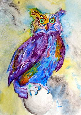 When I Put My Owl Mask On Poster by Beverley Harper Tinsley