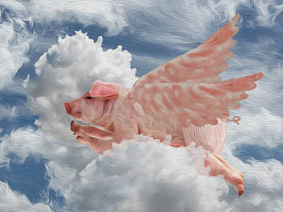 When Pigs Can Fly - Flying Pig Poster by Jack Zulli