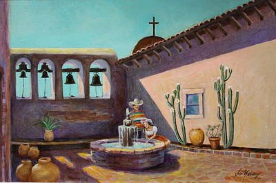 Whispering Waters At Mission San Juan Capistrano Poster by Jan Mecklenburg