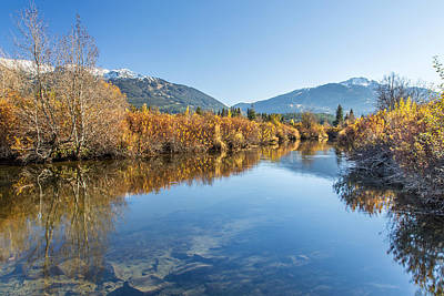 Whistler Blackcomb River Of Golden Dreams Reflection  With Canon Eos 6d And Rokinon 14 Mm F2.8 Poster by Pierre Leclerc Photography