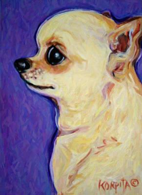 White Chihuahua - Sweet Pea Poster by Rebecca Korpita