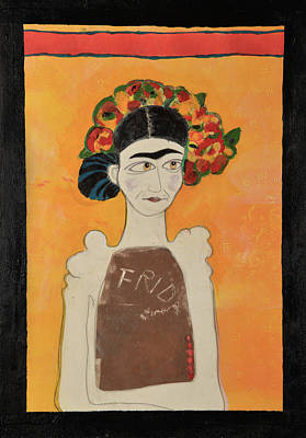 White Frida Poster by Jennie Cooley