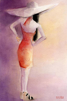 White Hat And Orange Sundress Fashion Illustration Art Print Poster by Beverly Brown