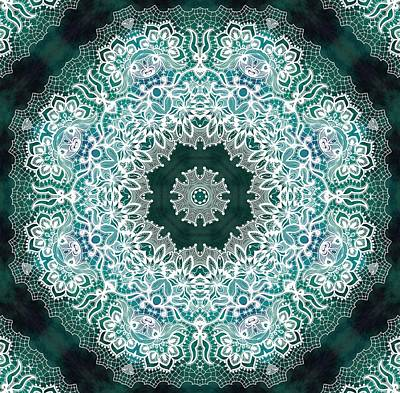 White Lace On Malachite Background Poster by Lilia D