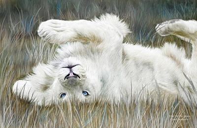 White Lion - Wild In The Grass Poster by Carol Cavalaris