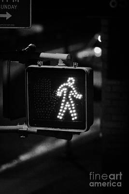 White Man Pedestrian Walk Sign Illuminated At Night New York City Usa Poster by Joe Fox