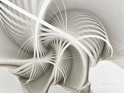 White Ribbons Spiral Poster by Karin Kuhlmann