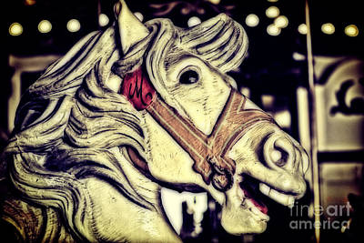 White Steed - Antique Carousel Poster by Colleen Kammerer