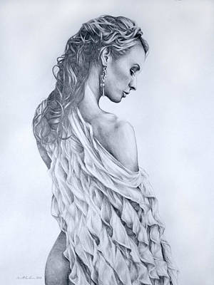 White Swan Drawn Female Figure Study Poster by Brent Schreiber