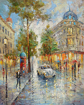 White Taxi Poster by Dmitry Spiros