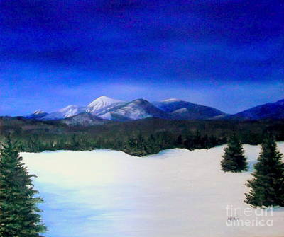 Whiteface And Mountains In Blue Poster by Peggy Miller