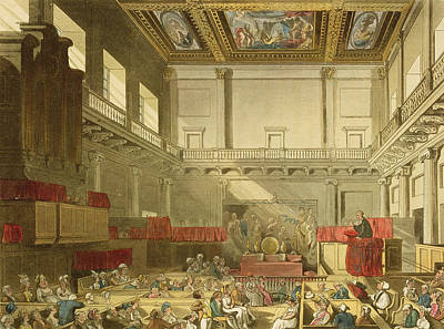 Whitehall, From Ackermanns Microcosm Poster by T. & Pugin, A.C. Rowlandson
