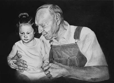Whitney And Great Grandpa Poster by Artist Karen Barton