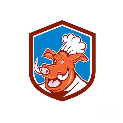 Wild Pig Boar Chef Cook Head Shield Cartoon Poster by Aloysius Patrimonio