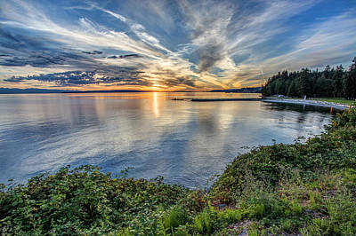 Willingdon Beach Sunset Hdr Poster by Pierre Leclerc Photography