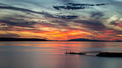 Willingdon Beach Sunset In Powell River Bc Poster by Pierre Leclerc Photography