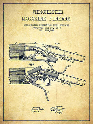 Winchester Firearm Patent Drawing From 1877 - Vintage Poster by Aged Pixel