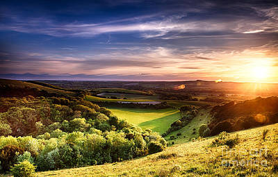 Winchester Hill Sunset Poster by Simon Bratt Photography LRPS