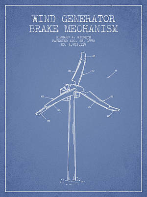 Wind Generator Break Mechanism Patent From 1990 - Light Blue Poster by Aged Pixel