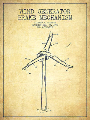 Wind Generator Break Mechanism Patent From 1990 - Vintage Poster by Aged Pixel
