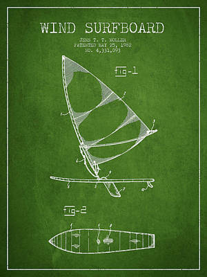Wind Surfboard Patent Drawing From 1982 - Green Poster by Aged Pixel